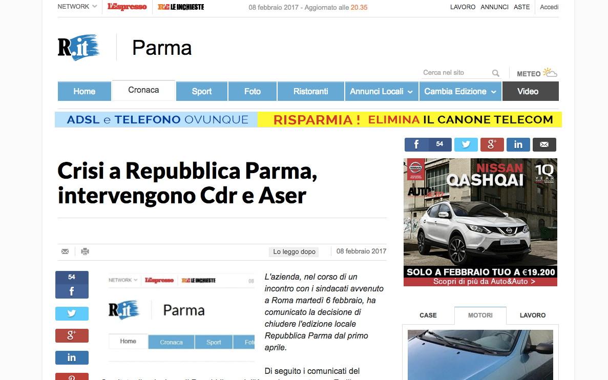 chiude il sito di repubblica parma le perplessit del cdr